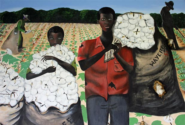 Cotton Pickers Mixed Media Painting