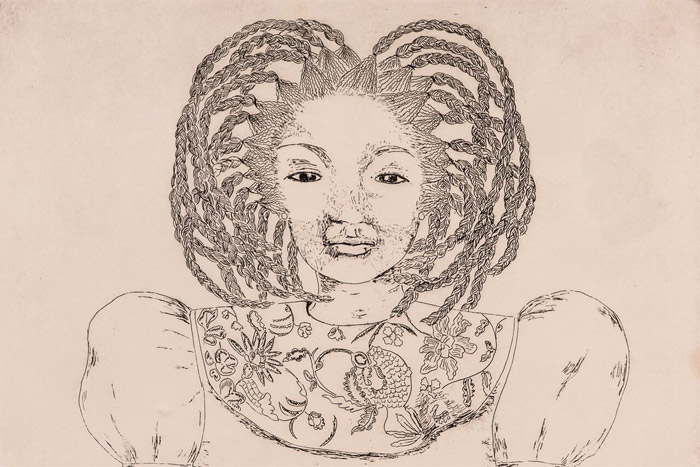 Girl with Braids Etching