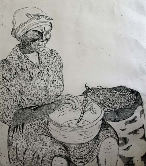Lady Shelling Peas Etching
